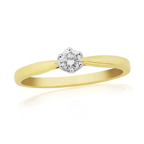 Solitaire Single Stone Six Claw Engagement Ring Yellow Gold 15 Points